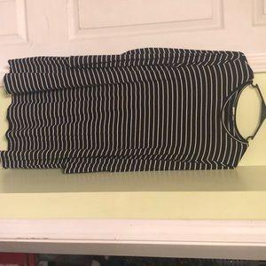 B&W striped long sleeve dress